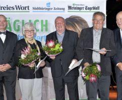 Guths-Muths-Ehrenplakette des LSB erhielten Ingrid Knorr (2.v.l.), Gerhard Hildebrandt (Mitte) und Horst Brodrecht (2. v.r.).