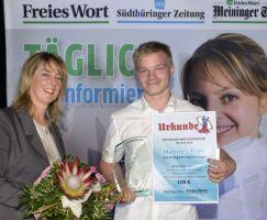 Hannes Trier wurde von der Suhler Verlagsgesellschaft als bester Nachwuchssportler geehrt.