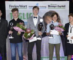 Nachwuchssportler des Jahres wurde Florian Strauch (Rhöner WSV- Mitte) vor Jonathan Enders (1. TSV Bad Salzungen - 2. v.r.) und Tom Weigel (WSV Steinbach - 2.v.l.).